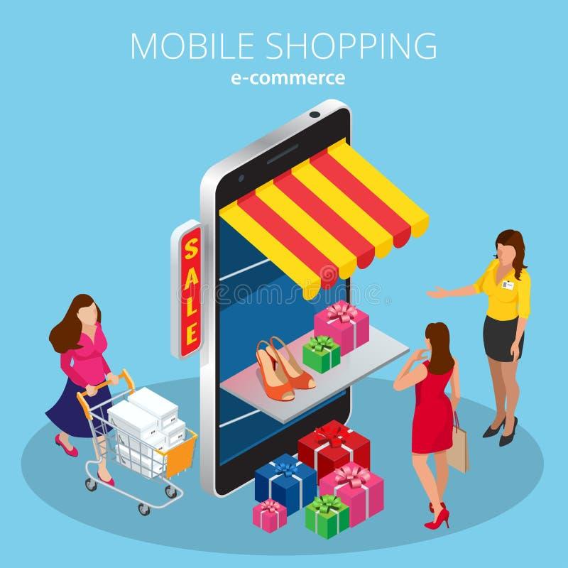 Het mobiele het winkelen 3d isometrische infographic concept van de elektronische handel online opslag vlak royalty-vrije illustratie
