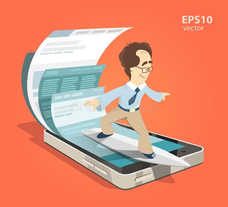 Het mobiele Internet-surfen vector illustratie