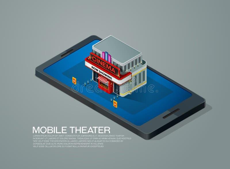 Het mobiele isometrische theater van de de reservebioskoop van het telefoonkaartje royalty-vrije illustratie