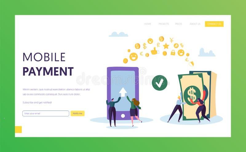 Het mobiele Landingspagina van de het Contante geldoverdracht van de Betalingstelefoon Online Bankportefeuille in Smartphone Elek stock illustratie