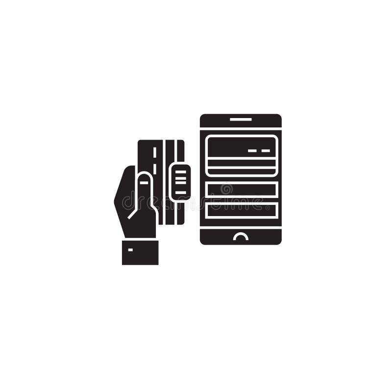 Het mobiele pictogram van het betalings zwarte vectorconcept Mobiele betalings vlakke illustratie, teken royalty-vrije illustratie