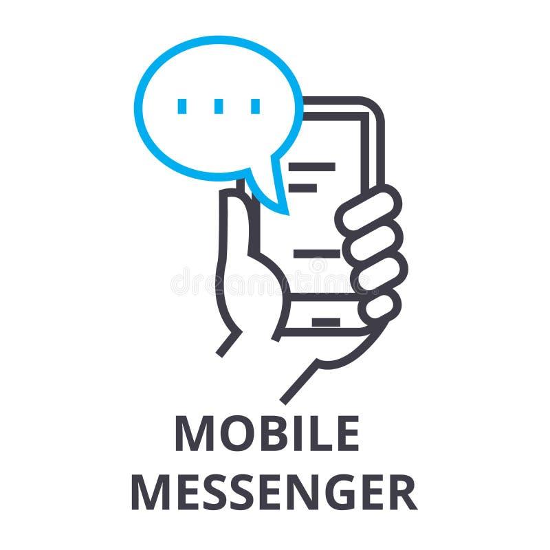 Het mobiele pictogram van de boodschappers dunne lijn, teken, symbool, illustation, lineair concept, vector vector illustratie