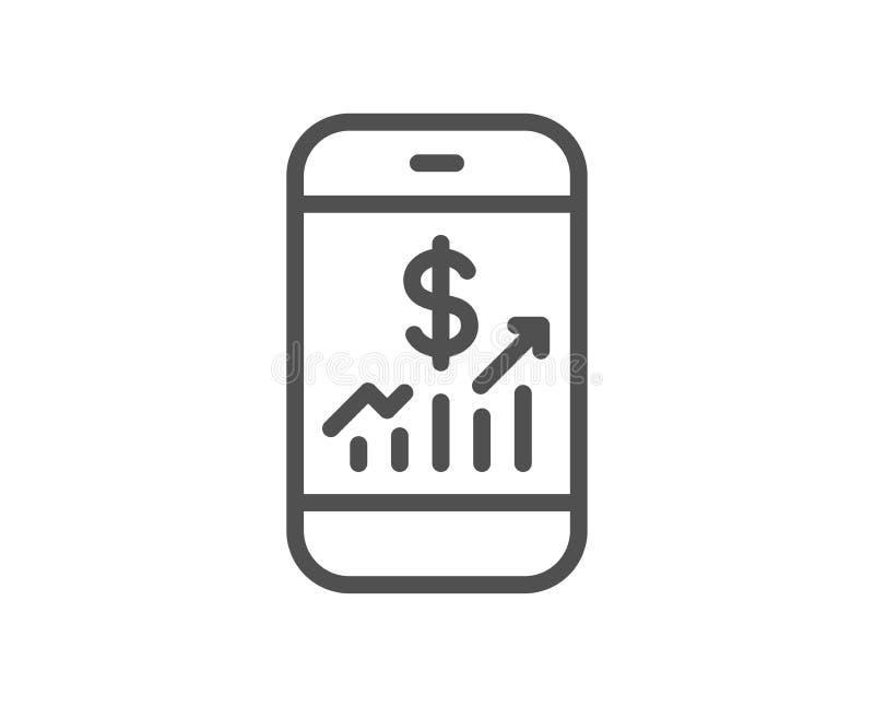 Het mobiele pictogram van de financiënlijn Bedrijfscontroleteken vector illustratie