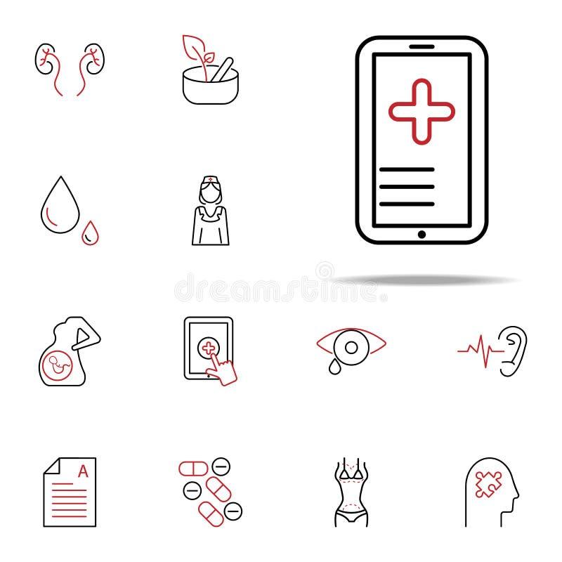 Het mobiele pictogram van de Gezondheids rassenbarrière Medisch die voor Web wordt geplaatst en mobiel pictogrammenalgemeen begri vector illustratie