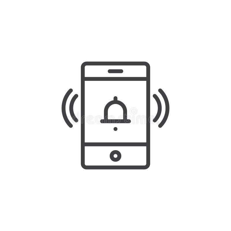 Het mobiele pictogram van het telefoon bellende overzicht royalty-vrije illustratie