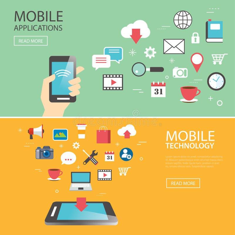 Het mobiele van het de bannermalplaatje van de toepassingstechnologie vlakke ontwerp royalty-vrije illustratie