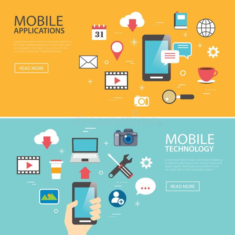 Het mobiele van het de bannermalplaatje van de toepassingstechnologie vlakke ontwerp stock illustratie
