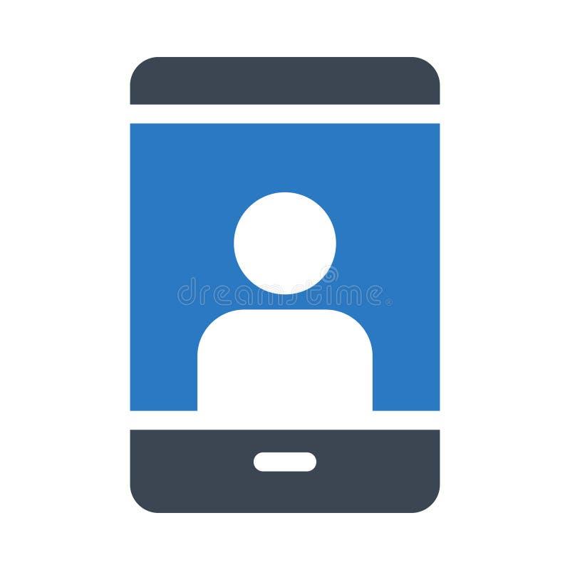 Het mobiele vlakke vectorpictogram van de gebruikers glyph kleur stock illustratie