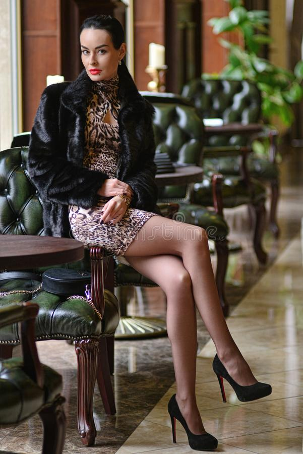 Het model in dure zwarte schapehuidlaag en de tijger kleden het stellen in een restaurant royalty-vrije stock afbeelding