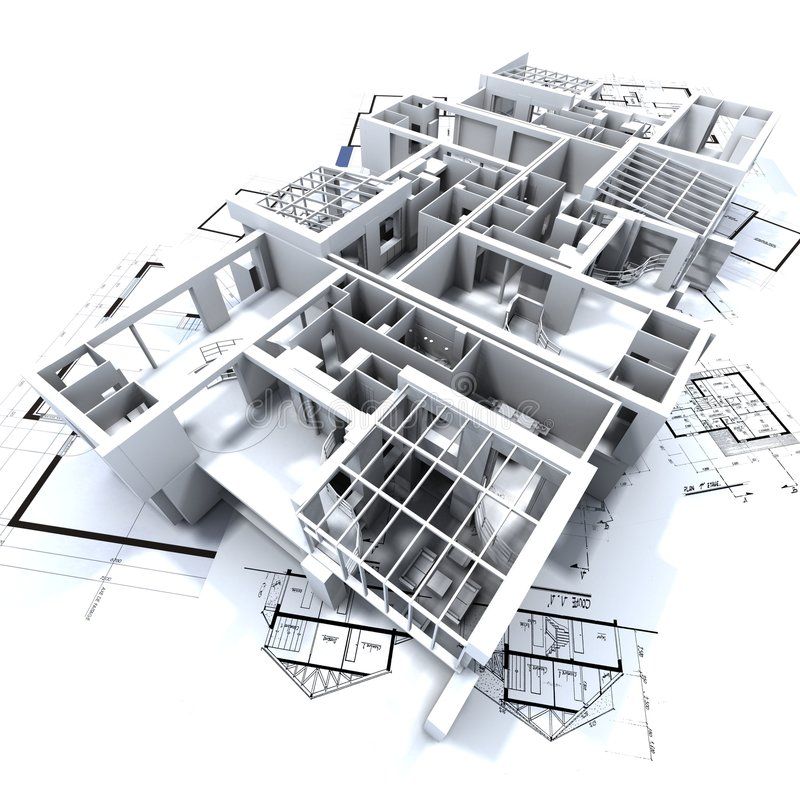 Het model en de blauwdruk van Appartmen vector illustratie
