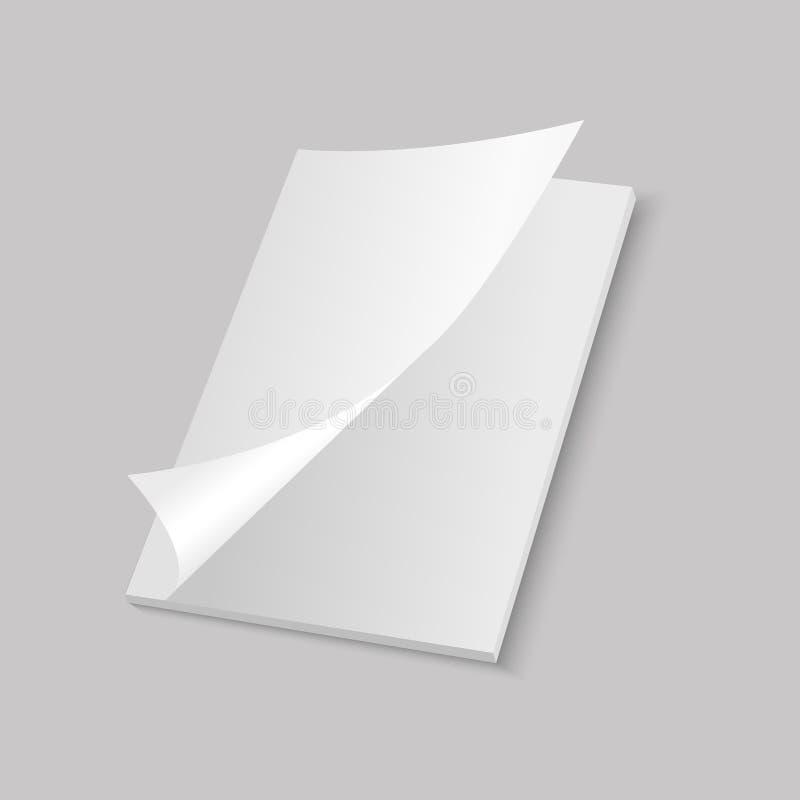 Het model opende tijdschrift, dagboek, boekje, prentbriefkaar, vlieger, adreskaartje of brochure Vector royalty-vrije illustratie