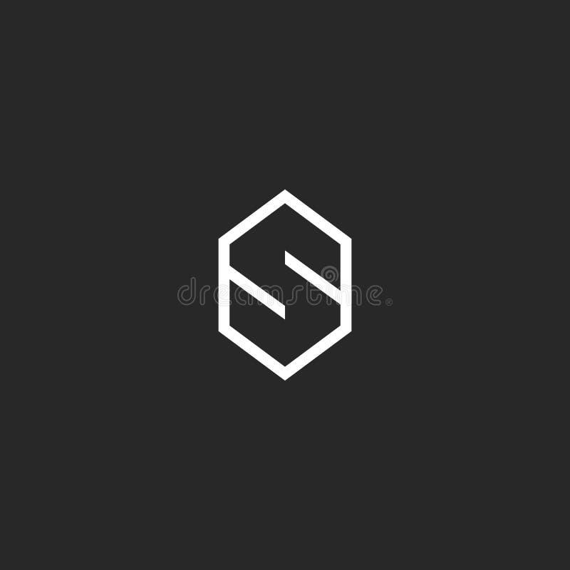 Het model van het brievens embleem, schetst zwart-witte hexagon hipster geometrische vorm, idee modern eenvoudig embleem stock illustratie