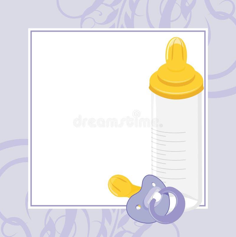 Het model van de baby en melkfles. Decoratief frame vector illustratie