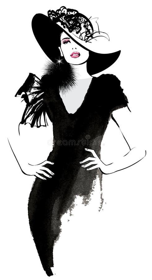 Het model van de maniervrouw met een zwarte hoed stock illustratie
