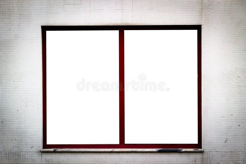 Het Model van de vensterreclame op Rusty Tiled Wall Één Ruimte De ruimte van het exemplaar royalty-vrije stock fotografie