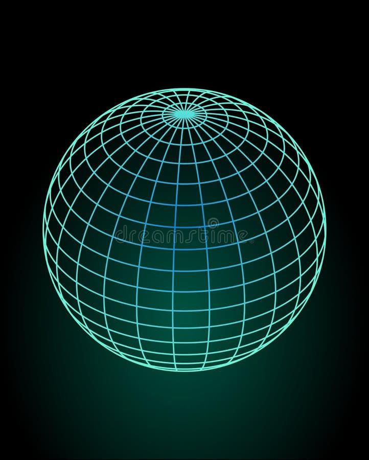Het model van de Wireframebol in groen en blauw ontwerp, groene gloed op zwarte achtergrond 3d ruimteillusie royalty-vrije illustratie