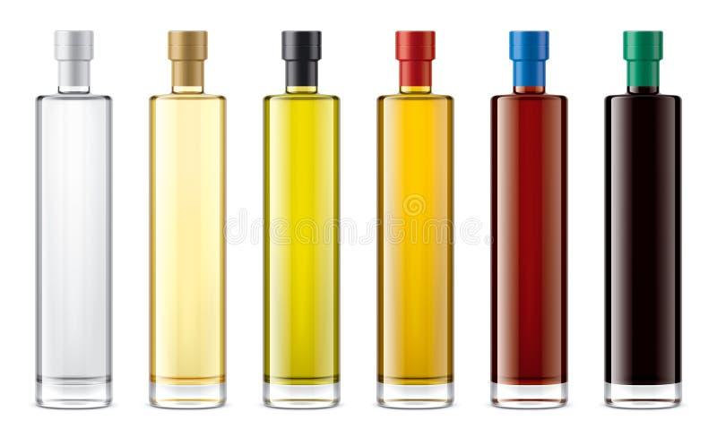 Het model van glasflessen voor olie en sausen Folieversie royalty-vrije illustratie
