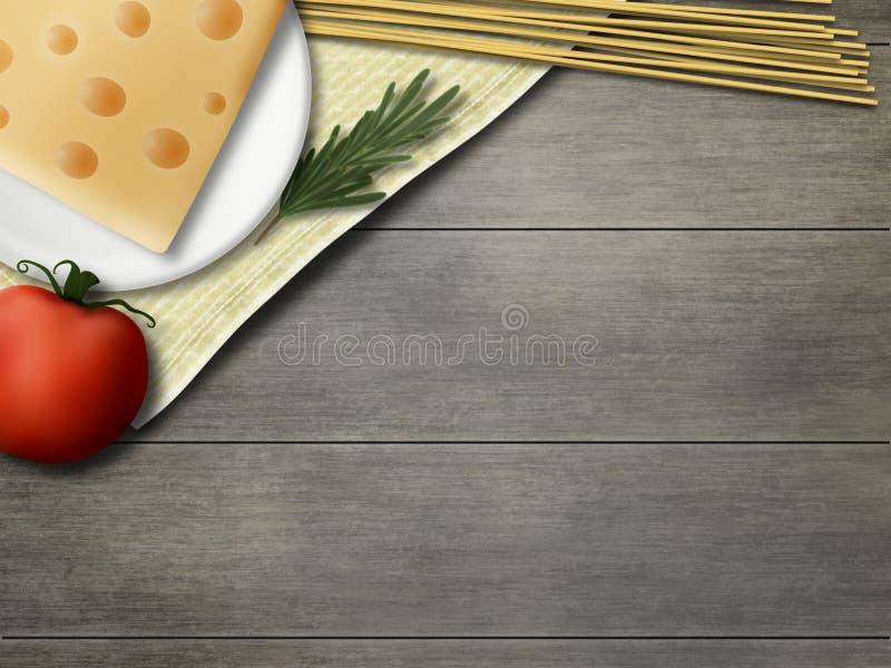 Het model van het land Rustiek Stilleven Tomaat, spaghetti, rozemarijn, kaas stock foto