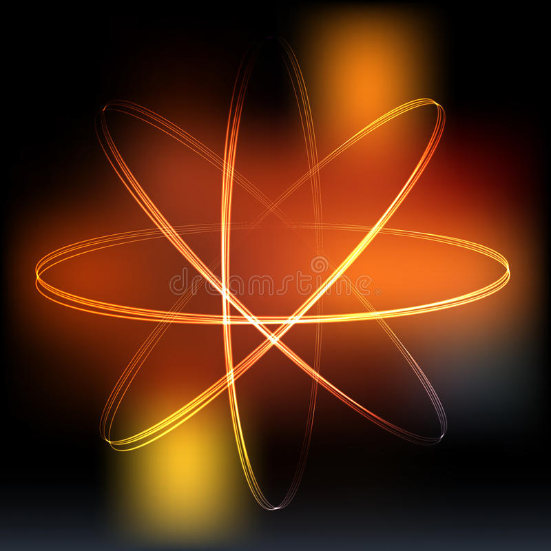 Het model van het neonlichtenatoom stock illustratie