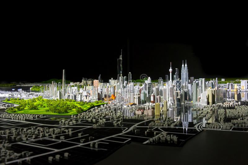 Het model van Kuala Lumpur bij nacht stock afbeelding
