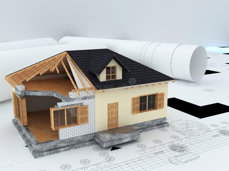 Het modelhuis van architecten stock illustratie