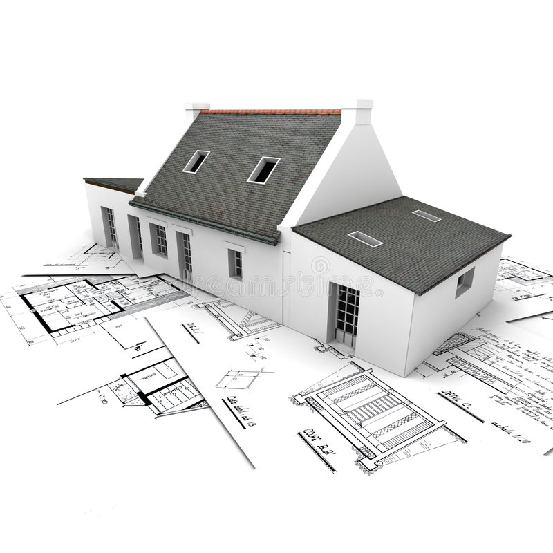 Het modelhuis van de architectuur bovenop blauwdrukken stock illustratie