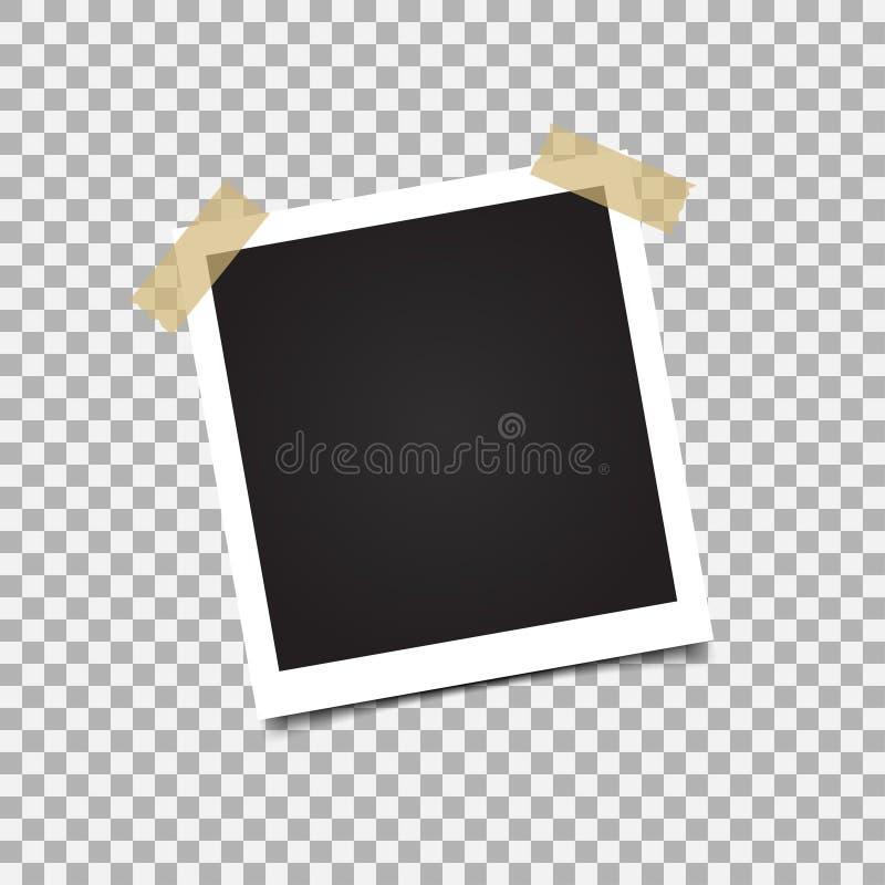 Het modelontwerp van het fotokader Witte grens op een transparante achtergrond stock illustratie