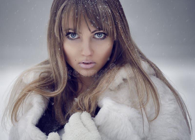 Het modelportret van de winter stock fotografie