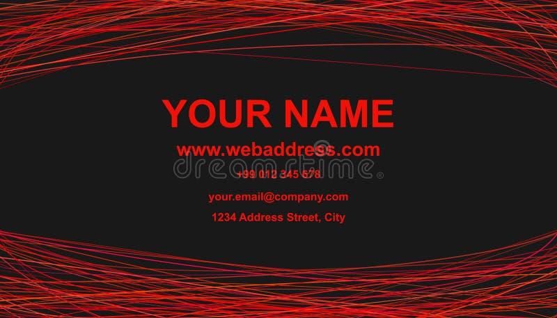 Het moderne abstracte ontwerp van het adreskaartjemalplaatje - vector collectieve kaartillustratie met rode krommen royalty-vrije illustratie