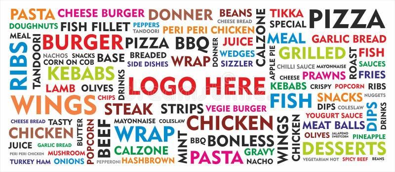 Het moderne Behang van het Voedselmenu royalty-vrije stock afbeelding