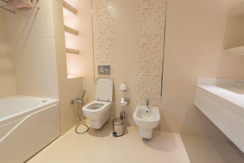 Het moderne binnenland van badkamers en toilet stock afbeeldingen