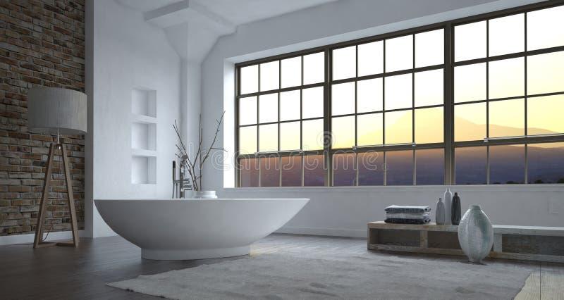 Het moderne binnenland van de luxe grijze en witte badkamers vector illustratie
