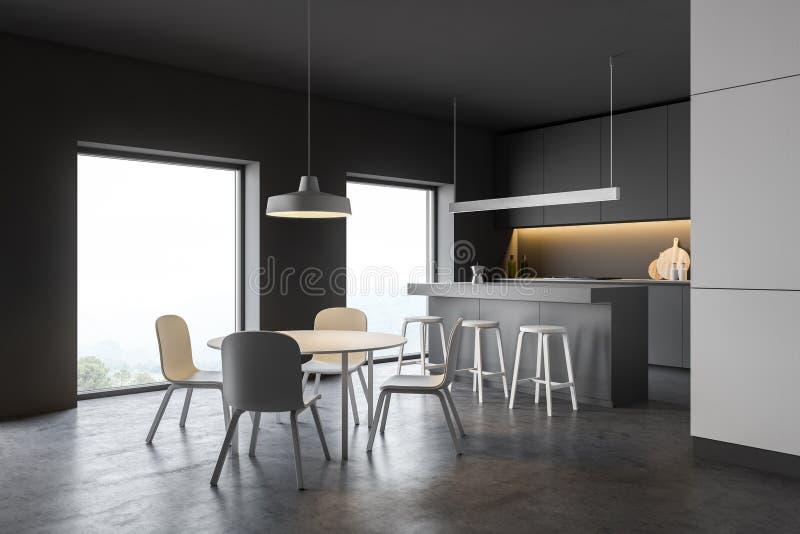 Het moderne binnenland van de ontwerpkeuken met venster en stad veiw 3d geef terug vector illustratie