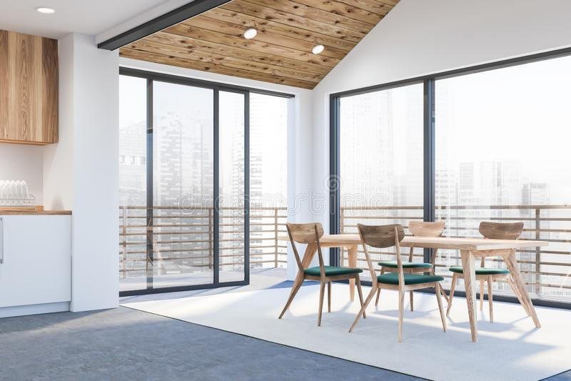Het moderne binnenland van de ontwerpkeuken met venster en stad veiw 3d geef terug stock illustratie