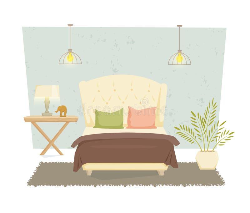 Het moderne binnenland van de slaapkamer royalty-vrije illustratie