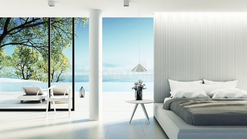 Het Moderne binnenland van de strandslaapkamer - & geeft de Luxevakantie/3D terug stock illustratie