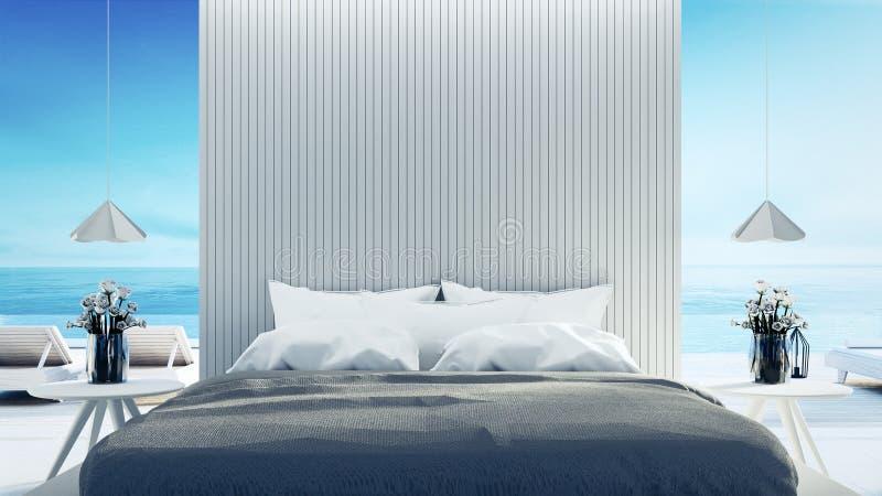 Het Moderne binnenland van de strandslaapkamer - & geeft de Luxevakantie/3D terug vector illustratie