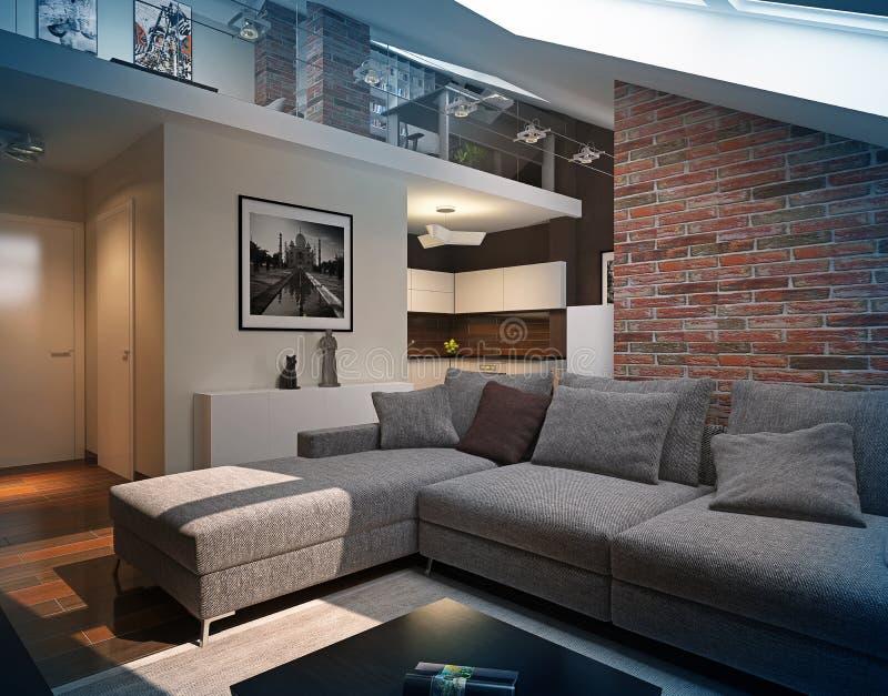 Het moderne binnenland van de zolderwoonkamer. vector illustratie