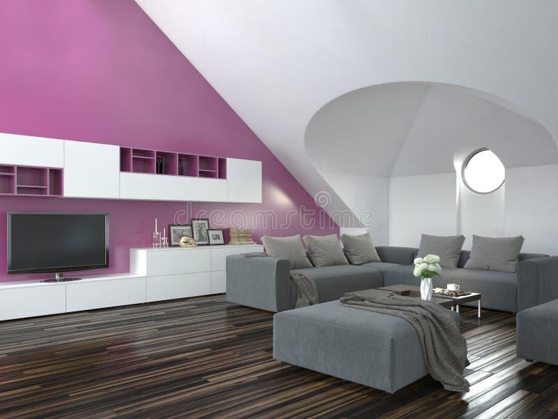 Het moderne binnenland van de zolderwoonkamer stock illustratie