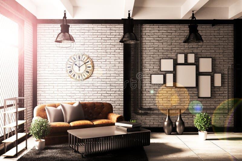 Het moderne binnenland van de Zolderwoonkamer met bank en groene installaties, lamp, lijst op bakstenen muurachtergrond het 3d te royalty-vrije illustratie