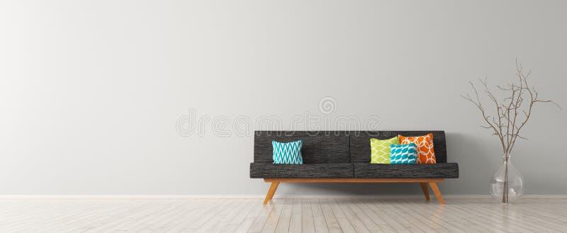 Het moderne binnenland van woonkamer met zwarte 3d bank geeft terug royalty-vrije illustratie