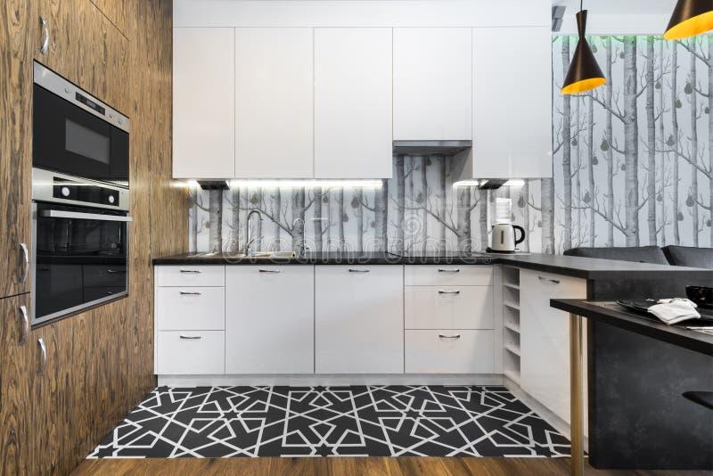 Het moderne Binnenlandse Ontwerp van de Keuken stock afbeelding