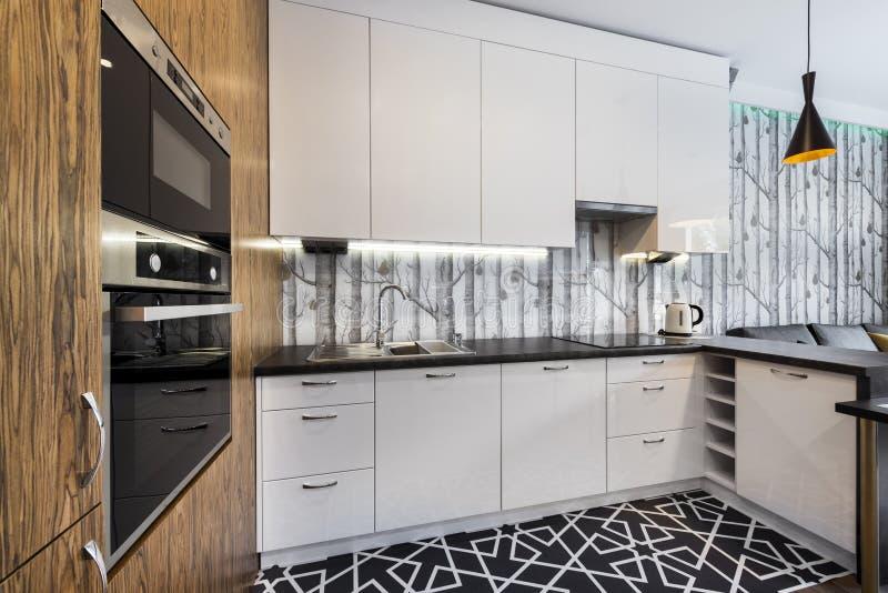 Het moderne Binnenlandse Ontwerp van de Keuken royalty-vrije stock foto