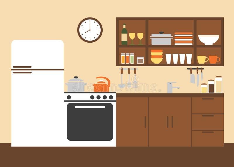 Het moderne Binnenlandse Ontwerp van de Keuken stock illustratie
