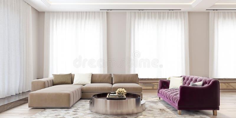 Het moderne binnenlandse ontwerp van een grote woonkamer met hoekig bank en viooltje kleurde laag, gele bloemen en grote vensters stock foto