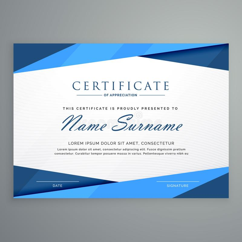Het moderne blauwe malplaatje van het driehoekscertificaat royalty-vrije illustratie