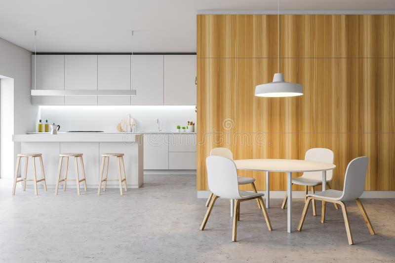 Het moderne comfortabele binnenland van de ontwerpkeuken met meubilair vector illustratie