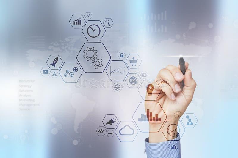 Het moderne computer virtuele scherm Bedrijfstechnologie en Internet-concept IOT stock fotografie