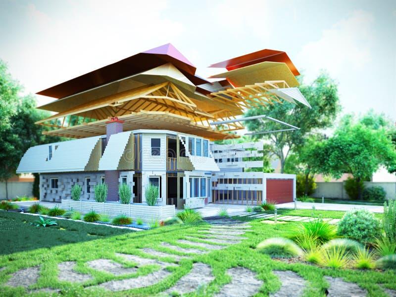 Het moderne concept bouwwerkzaamheden wordt het huis geassembleerd door p stock illustratie