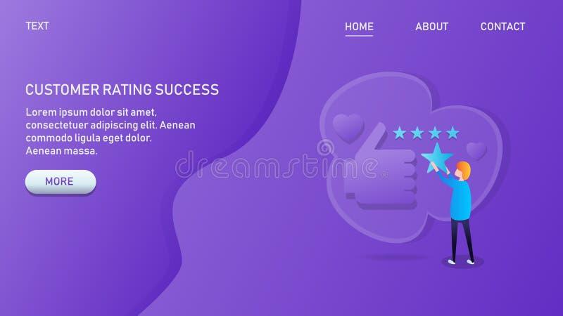 Het moderne concept klantenclassificatie, het bedrijfssucces, het klantenbeheer en de klant koppelen, evaluatie terug vector illustratie